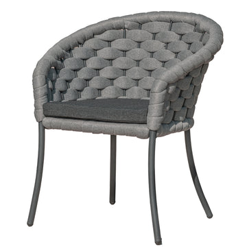 Alexander Rose Light Grey Cordial Luxe Outdoor Dining Chair with Cushion