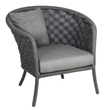 Alexander Rose Cordial Wide Rope Curved Top Lounge Chair Grey
