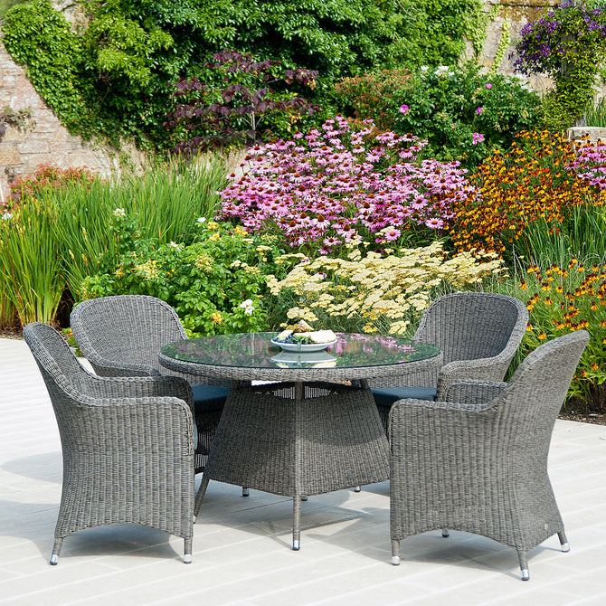 Alexander Rose Monte Carlo 4 Seater Closed Weave Armchair Round Set