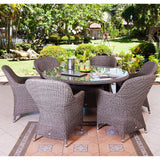 Alexander Rose Monte Carlo 6 Seater Closed Weave Armchair Round Set