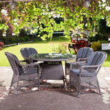Alexander Rose Monte Carlo 4 Seater Open Weave Armchair Round Set