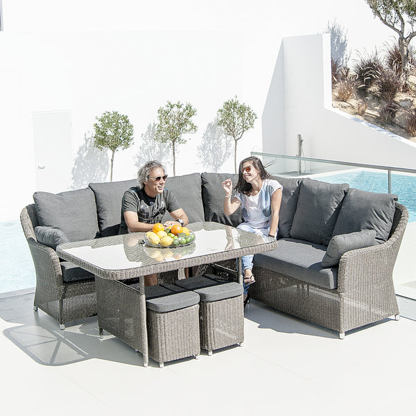 Alexander Rose Monte Carlo Casual Dining Modular Square Table Set