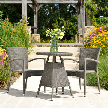Alexander Rose Monte Carlo Bistro 2 Seater Stacking Armchair Round Set