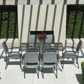 Alexander Rose Portofino 6 Seater Woven Armchair Rectangular Set With FREE Grey Parasol and Base