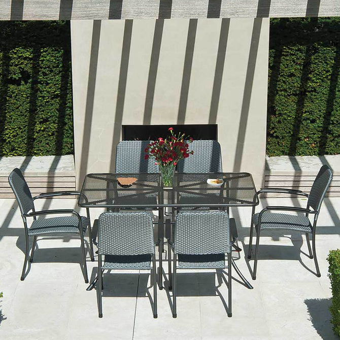 Alexander Rose Portofino 6 Seater Metal Garden Furniture Set with Rectangular Table & Woven Armchairs