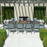 Alexander Rose Portofino 10 Seater Metal Garden Furniture Set with Extending Rectangular Table & Woven Armchairs