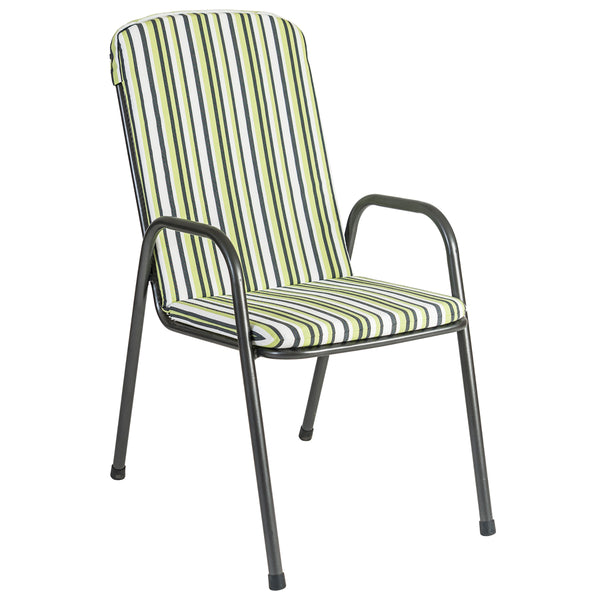 Alexander Rose Portofino HighBack Chair Cushion Green Stripe