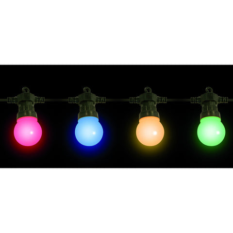 20 Low Voltage LED Multi Colour Festoon Party Lights with Black cable