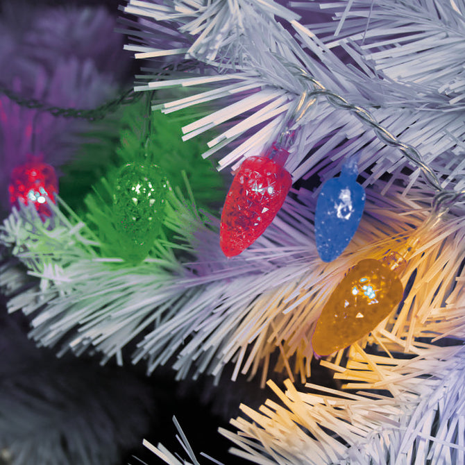 100 Multifunction Multi coloured LED Faceted Cone Garland Lights with Clear Cable