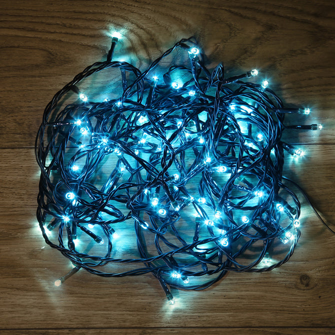 Noma 80 ,120, 180, 240, 360, 480 Multifunction LED Lights with Green Cable and Timer - Ice Blue