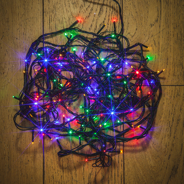 Noma 80, 120, 180, 240, 360, 480, 720, 1000 Multifunction LED Lights with Green Cable and Timer - Multi Coloured