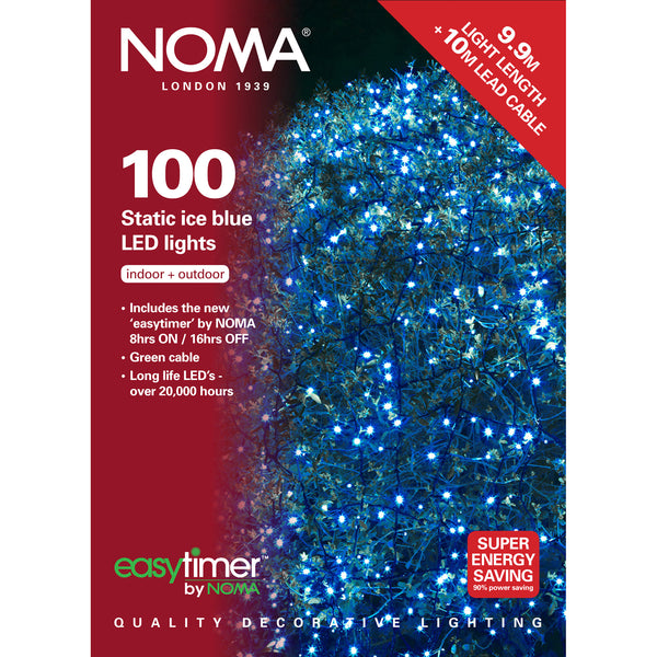 100 Static LED Christmas Lights With Easy Timer Ice Blue with Green Cable