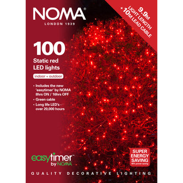 100 Static LED Christmas Lights With Easy Timer Red with Green Cable