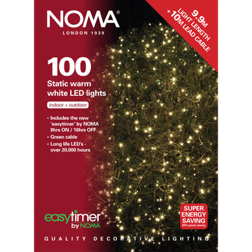 100 Static LED Christmas Lights With Easy Timer Warm White with Green Cable