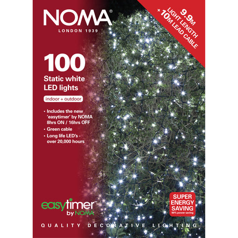 100 Static LED Christmas Lights With Easy Timer White with Green Cable