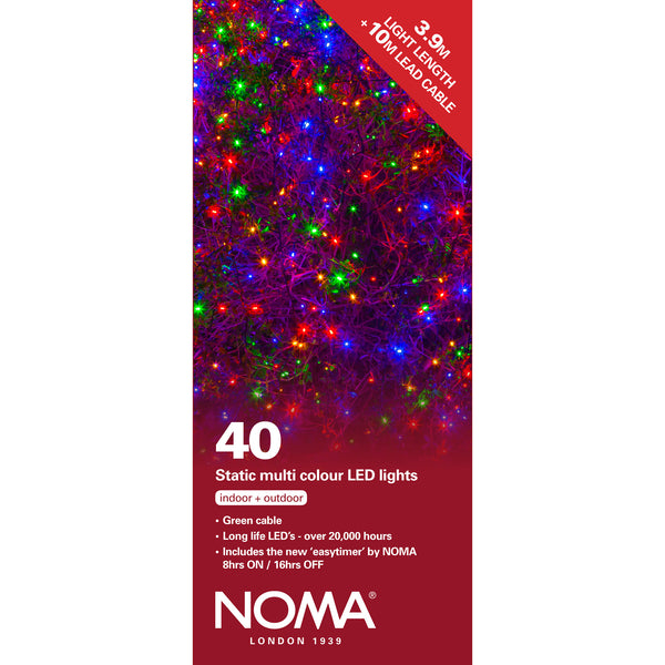 40 Static LED Christmas Lights With Easy Timer Multicoloured with Green Cable