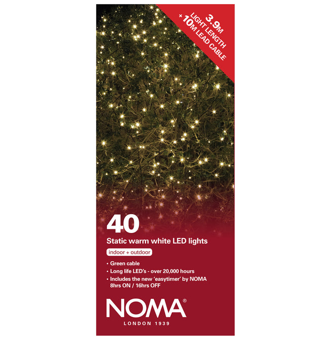 Noma 40 Static LED Christmas Lights With Easy Timer Warm White with Green Cable