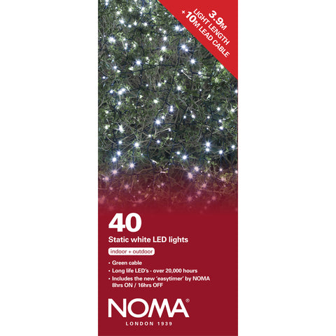 40 Static LED Christmas Lights With Easy Timer White with Green Cable