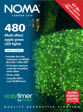 120, 180, 240, 360, 480 Multifunction LED Lights with Green Cable - Apple Green
