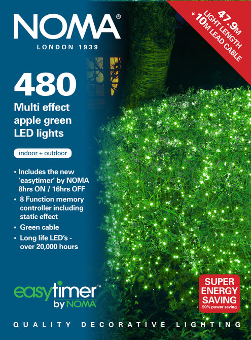 Noma 80,120, 180, 240, 360, 480 Multifunction LED Lights with Clear Cable - Apple Green