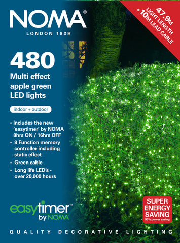 180, 240, 360 Multifunction LED Lights with Green Cable - Apple Green