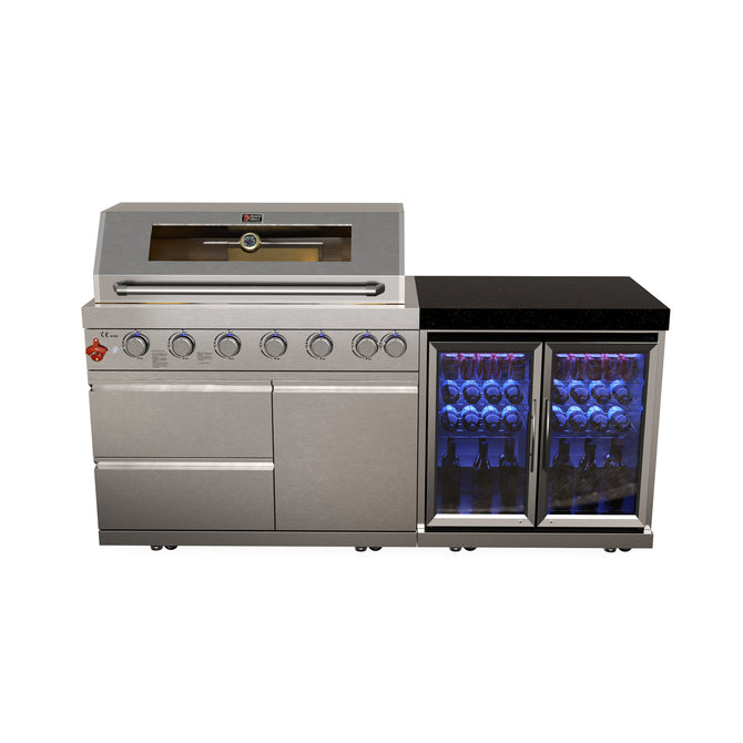 Draco Grills 6 Burner Stainless Steel Outdoor Kitchen with Double Fridge