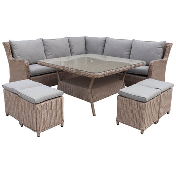 Robert Charles Hawaii High Back Corner Outdoor Lounge Dining Set