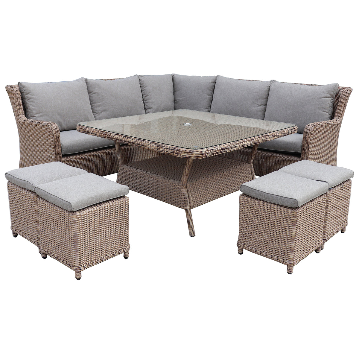 Robert charles hawaii high back corner outdoor lounge dining set garden trends