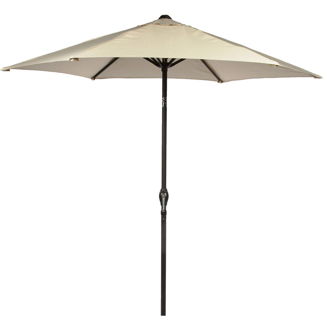 LG Outdoor Soleil 2.2m Crank and Tilt Graphite 34mm Pole Round Garden Parasol - Cream