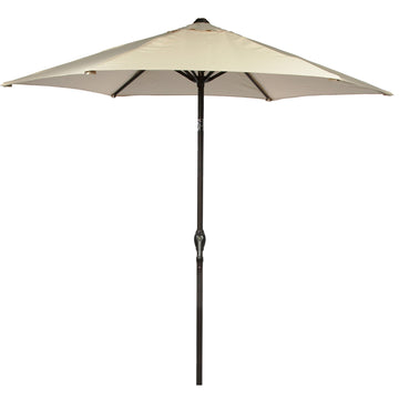 Harbo Ecru 2.5m Crank and Tilt Round Garden Parasol Graphite pole
