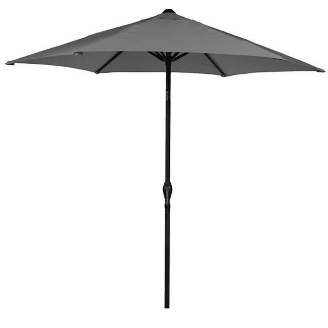 Harbo Grey 2.5m Crank and Tilt Round Garden Parasol Graphite pole