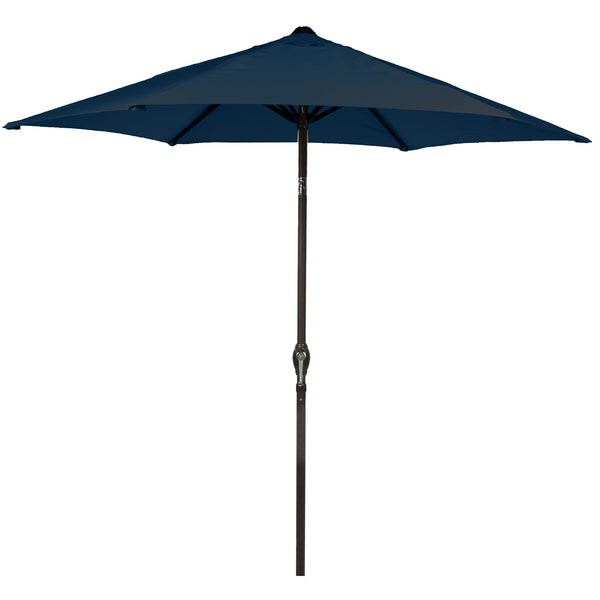 Bracken Outdoors 2.7m Crank and Tilt Graphite 34mm Pole Round Garden Parasol - Navy