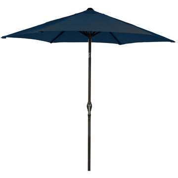 LG Outdoor Soleil 2.7m Crank and Tilt Graphite 34mm Pole Round Garden Parasol - Navy