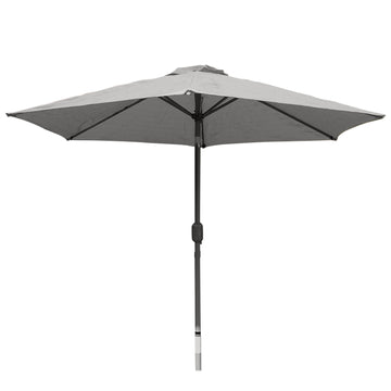 Harbo Grey 2.7m Crank and Tilt Round Garden Parasol Graphite pole