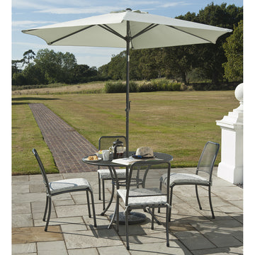 Alexander Rose Portofino 4 Seater Side Chair Round Set with FREE Grey Parasol