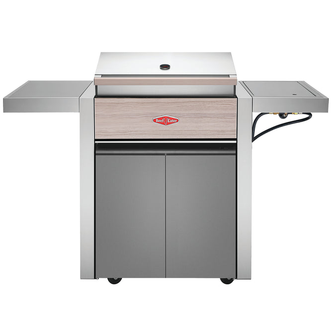 BeefEater 1500 Series 3 Burner Gas Barbecue with Cabinet Trolley and Side Burner