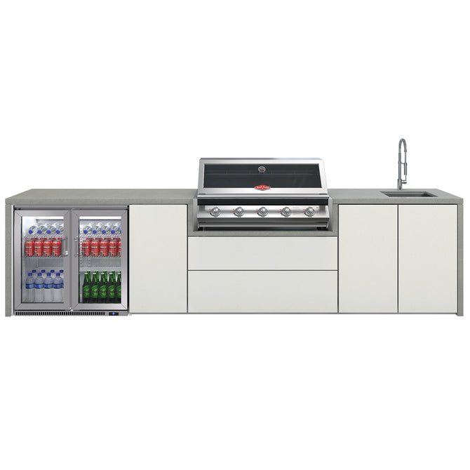 BeefEater Signature 5 Burner Alfresco Kitchen with Double Fridge and Sink Unit