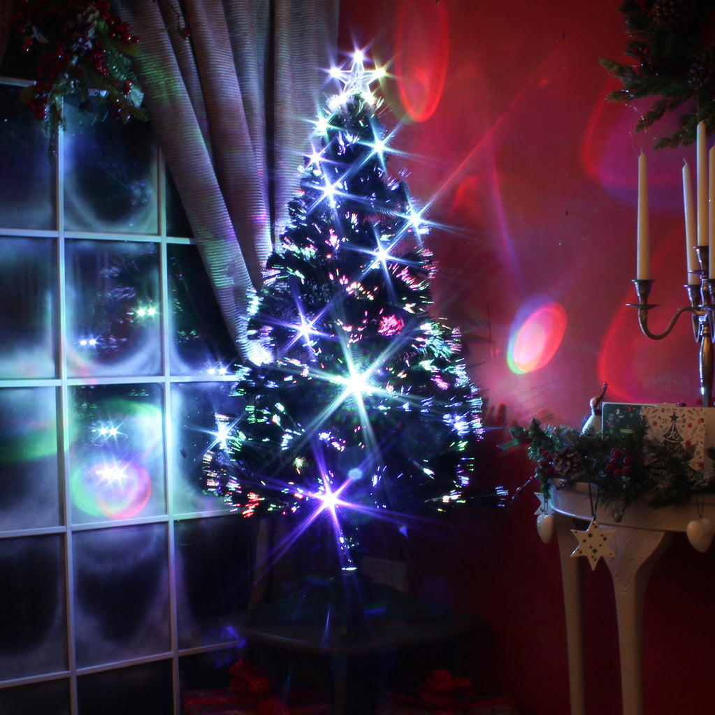 Multicoloured Fibre Optic Black Christmas Tree With Led Lights 2ft To 6ft Garden Trends
