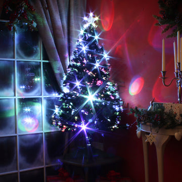 Multicoloured Fibre Optic Black Christmas Tree with LED lights - 2ft, 3ft, 4ft