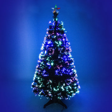 Green Fibre Optic Christmas Tree with Multicoloured Fibre Optic Lights - 2ft, 3ft, 4ft, 5ft, 6ft
