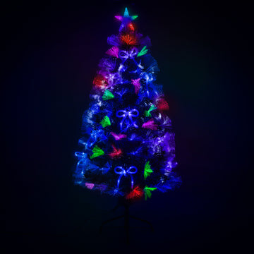 Green Fibre Optic Christmas Tree with Multi Coloured LED Lights and Blue Bows - 2ft, 3ft, 4ft, 5ft, 6ft