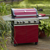Grillstream Classic 4 Burner Roaster Gas Barbecue with Cabinet and Side Burner - Red