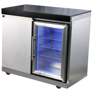 Draco Grills Outdoor Kitchen Stainless Steel Single Fridge Cabinet with Granite Top