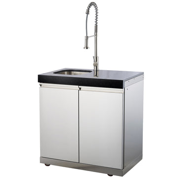 Draco Grills Outdoor Kitchen Stainless Steel Sink Cabinet with Granite Top