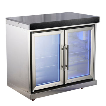 Draco Grills Outdoor Kitchen Stainless Steel Double Fridge Cabinet with Granite Top