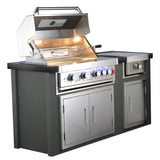 Draco Grills Avalon Stainless Steel Outdoor Kitchen with 4 Burner Barbecue and Side Burner