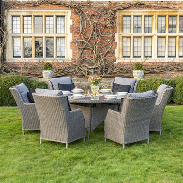 Robert Charles Boston 6 Seat Outdoor Grey Weave Round Garden Furniture Dining Set with Ice Bucket