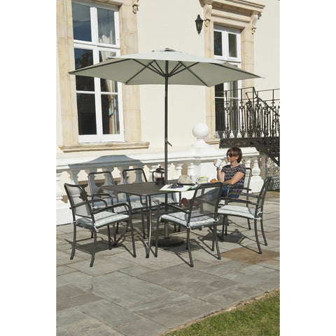 Alexander Rose Portofino 6 Seater Armchair Rectangular Set With FREE Grey Parasol and Base