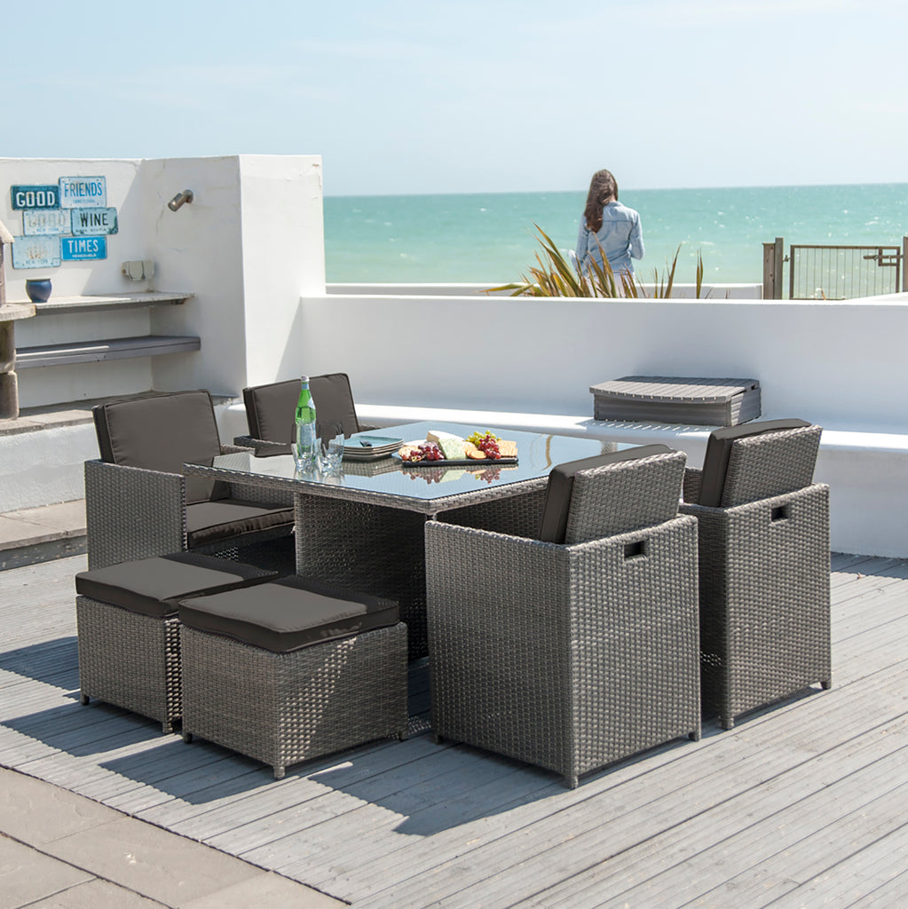Robert Charles 6 Seater Rattan Garden Furniture Cube Set Grey
