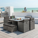 Robert Charles 4 Seater Rattan Garden Furniture Cube Set Grey